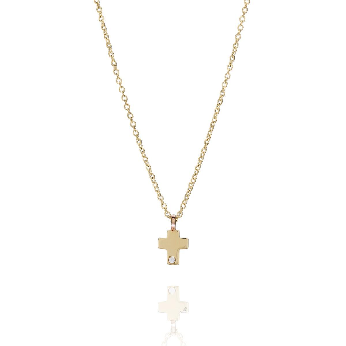 2189f62def2 Petit, halskæde i 14K guld med kors og diamant