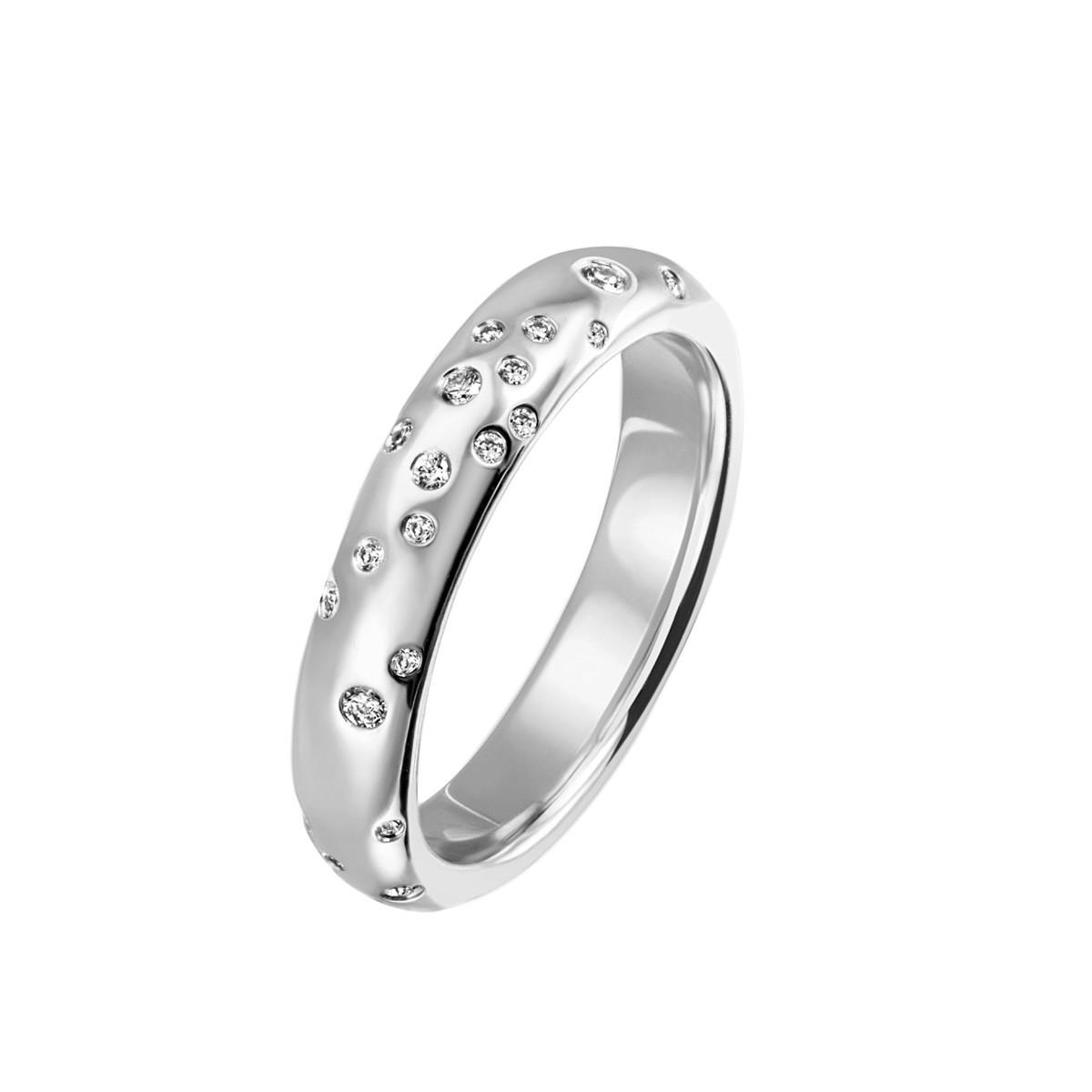 Stardust Large Ring 14K Hvidguld