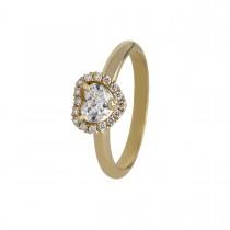 Rosét Hjerte Ring 18K Guld