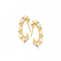 Gem Hoops Gold Plated Silver