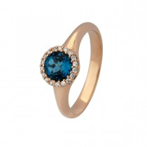 Halo Ring 18K Rosaguld London Blue