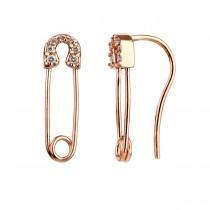 Safety Pin Earrings 18K Rose Gold